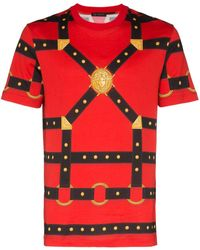 Versace Harness Print Cotton T-shirt - Red