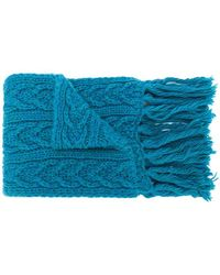 Barena Écharpe à tricot torsadé - Bleu