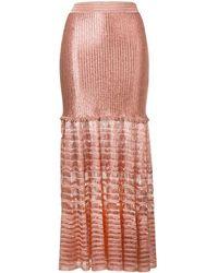 Alexander McQueen Knitted Maxi Skirt - Pink