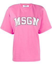 MSGM T-shirt con logo college - Rosa