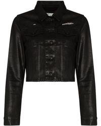 Off-White c/o Virgil Abloh Coated Cropped Denim Jacket - Black