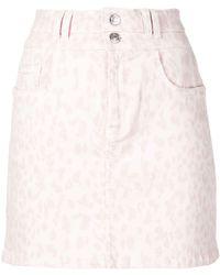 Current/Elliott - Leopard Print Denim Skirt - Lyst