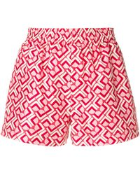 LaDoubleJ Print Fitted Shorts - Красный