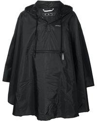 Off-White c/o Virgil Abloh Logo-print Cape-style Raincoat - Black