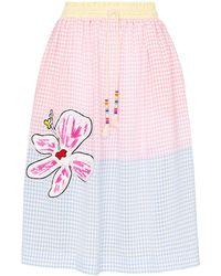 Mira Mikati Gingham Flower Patch Skirt - Blue