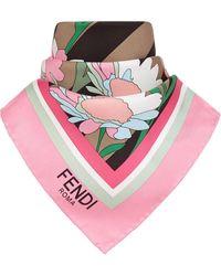 Fendi Шейный Платок С Цветочным Принтом - Розовый