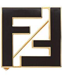 Fendi モノグラム ブローチ - ブラック