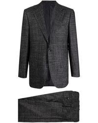 Kiton シングルブレスト テーラードスーツ - ブラック