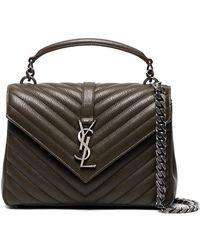 Saint Laurent - Khaki Green Monogram Quilted Leather Shoulder Bag - Lyst