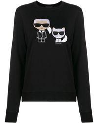 Karl Lagerfeld Ikonik Karl Choupette プルオーバー - ブラック
