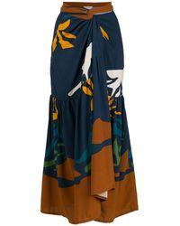 Brigitte Bardot Jupe longue à taille haute - Bleu
