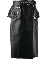 Alexander McQueen Leather Midi Skirt - Black