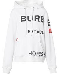Burberry Худи Оверсайз С Принтом Horseferry - Белый
