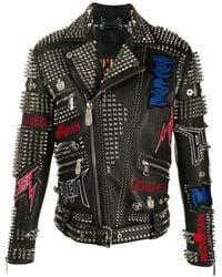 Philipp Plein Байкерская Куртка - Черный