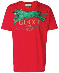 sale retailer 4f989 b2b42 Gucci Tiger Print Cotton T-shirt in White for Men - Lyst