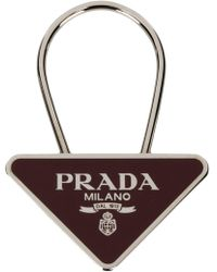 Prada - Logo Triangle Keyring - Lyst