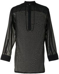 Qasimi ドローストリングネック シャツ - ブラック