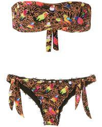 Amir Slama 'Papagaio' Bikini mit Bandeau-Top - Schwarz
