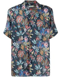 Etro Camp-collar Floral-print Linen Shirt - Blue