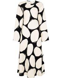 Marni Платье Миди В Горох - Белый