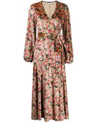 ROTATE BIRGER CHRISTENSEN Beatirx Floral Velvet Blouson-sleeve Wrap Dress - Pink