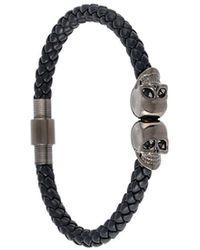 Northskull Armband mit versilberten Totenkopf-Anhängern - Schwarz
