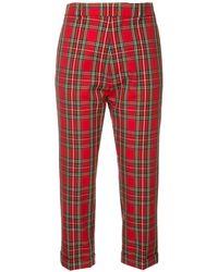 DSquared² Pantalones capri con motivo de cuadros - Rojo