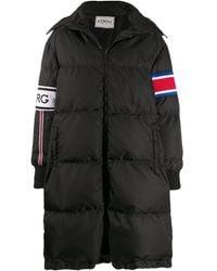 Iceberg Logo Stripe Padded Coat - Black
