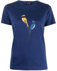 Shanghai Tang プリント Tシャツ - ブルー
