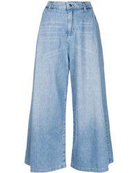 Emporio Armani Cropped Wide Leg Jeans - Blue