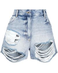 Patrizia Pepe Distressed Denim Shorts - Blue