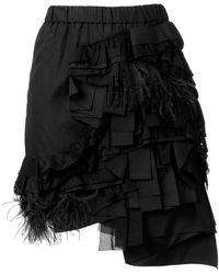 N°21 ラッフル フェザー スカート - ブラック