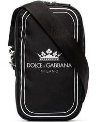 Dolce & Gabbana - Black And White Crown Logo Print Cross-body Bag - Lyst