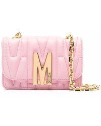 Moschino Umhängetasche mit Logo-Schild - Pink
