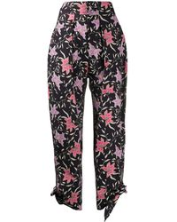 Isabel Marant Gaviao Floral-print Tapered Trousers - Black