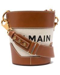 Balmain Ecru Canvas Saddler 14 Bag With Brown Leather Panels