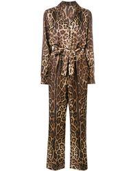 Dolce & Gabbana Combinaison à motif léopard - Marron