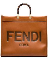 Fendi Sunshine エンボスロゴ ハンドバッグ - ブラウン