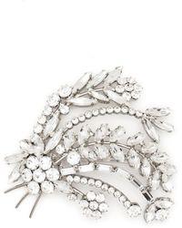 Alessandra Rich Broche à fleurs ornées de cristal - Métallisé