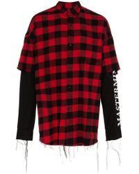Mastermind Japan - Mastermind Layered Shirt Blk Red - Lyst