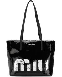 Miu Miu Logo Sequin Tote Bag - Black