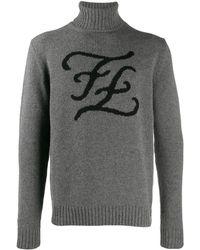 Fendi Karligraphy タートルネックセーター - グレー