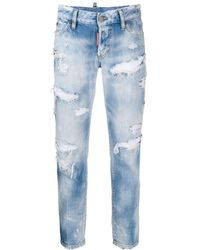 DSquared² High-rise Distressed Jeans - Blue