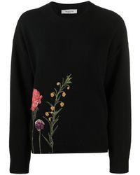 Valentino Джемпер С Цветочной Вышивкой - Черный