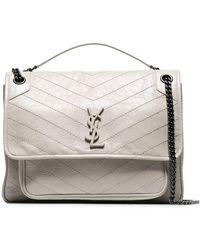 a02ffeec560b Lyst - Saint Laurent Monogram Université Leather Shoulder Bag in Natural