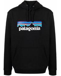 Patagonia ロゴ ドローストリング パーカー - ブラック