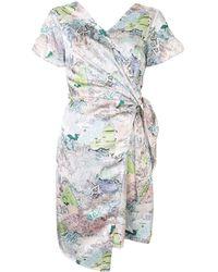 PORTSPURE Map-print Wrap Dress - Multicolor