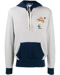 Polo Ralph Lauren Sudadera con capucha en gris marga/azul marino con detalle de oso jugando el rugby bordado en contraste