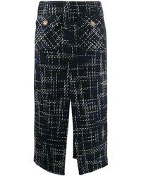 Edward Achour Paris Tweed Midi Skirt - Blue