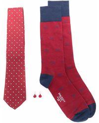Hackett Conjunto de corbata, gemelos y calcetines - Rojo